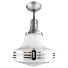 Art Deco Aluminum and Glass Atomic Pendants