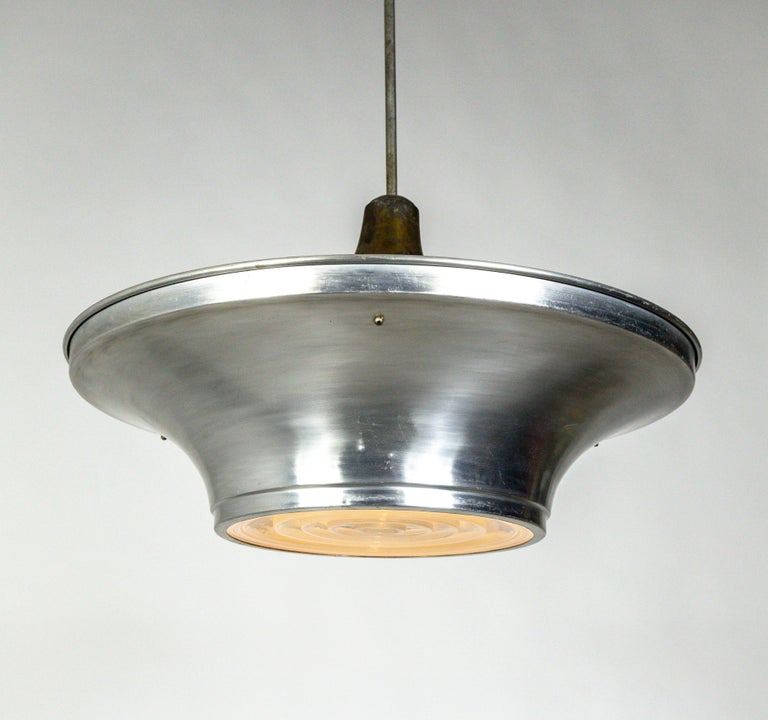 Art Deco Aluminum Dish Pendants with Unique Glass Diffusers For Sale 9