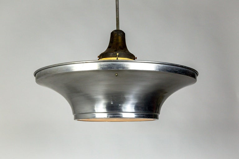 Art Deco Aluminum Dish Pendants with Unique Glass Diffusers In Good Condition For Sale In San Francisco, CA