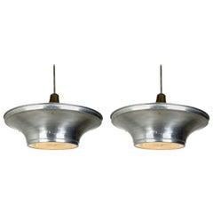 Art Deco Aluminum Dish Pendants with Unique Glass Diffusers