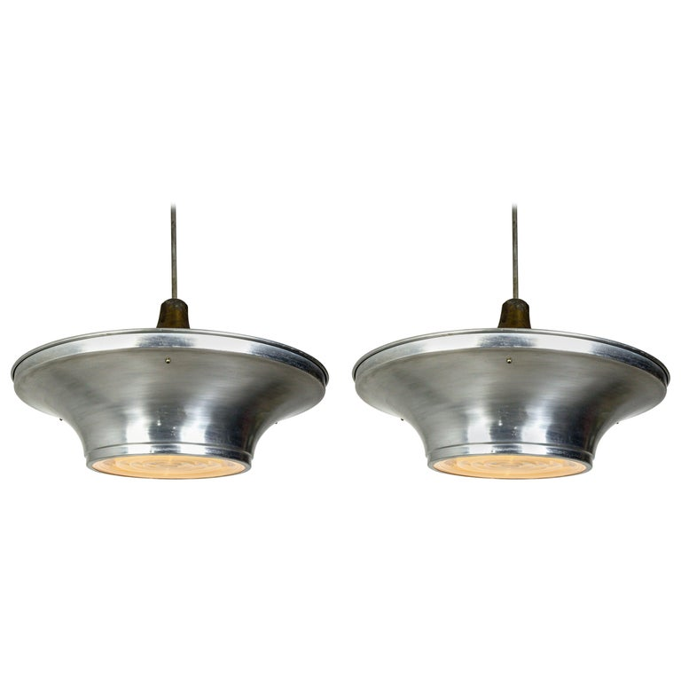 Art Deco Aluminum Dish Pendants with Unique Glass Diffusers For Sale