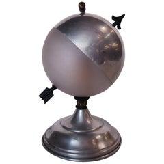 """Art Deco Aluminum Globe """"Saturn"""" Swiveling Table Lamp"""