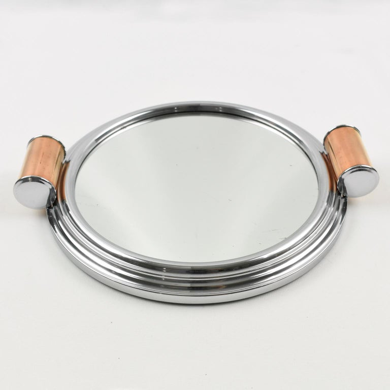 Art Deco Aluminum, Mirror and Copper Barware Tray, a pair For Sale 1