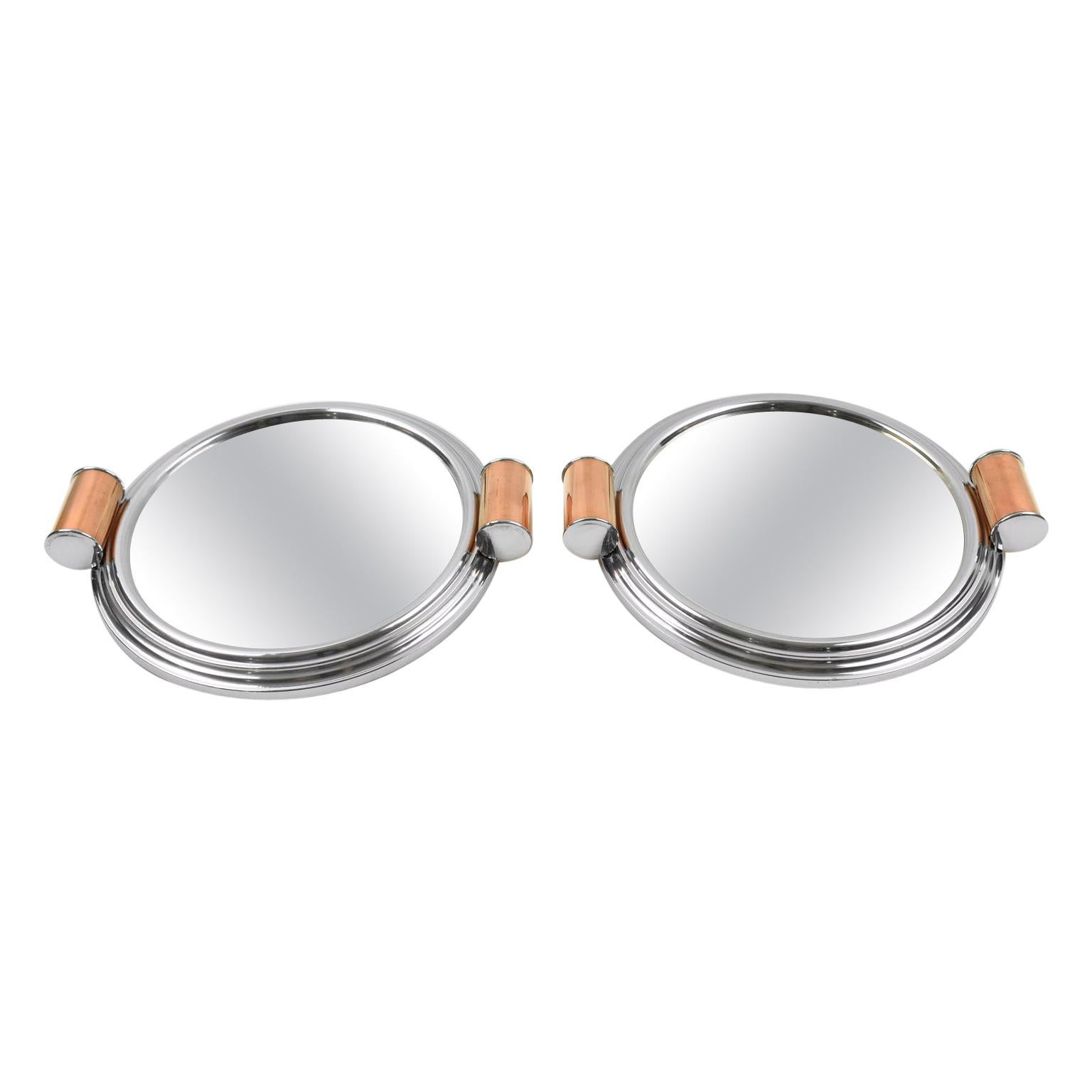 Art Deco Aluminum, Mirror and Copper Barware Tray, a pair