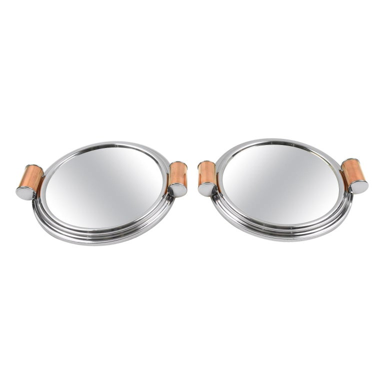 Art Deco Aluminum, Mirror and Copper Barware Tray, a pair For Sale