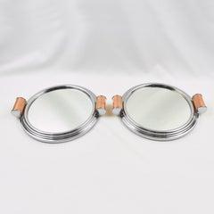 Art Deco Aluminum, Mirror and Copper Barware Tray, a pair