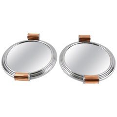 Art Deco Aluminum Mirror Copper Barware Tray, a Pair