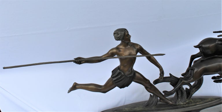 North American Art Deco, Bronze ,(Amazon Hunter) , Large,, Black Marble, After Ketley For Sale