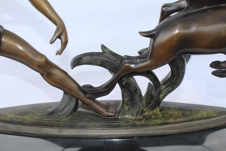 Cast Art Deco, Bronze ,(Amazon Hunter) , Large,, Black Marble, After Ketley For Sale