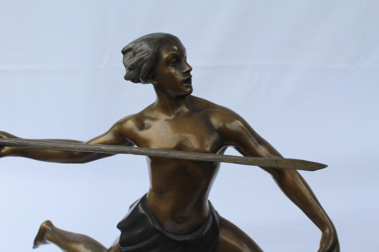 Art Deco, Bronze ,(Amazon Hunter) , Large,, Black Marble, After Ketley In Good Condition For Sale In Los Angeles, CA