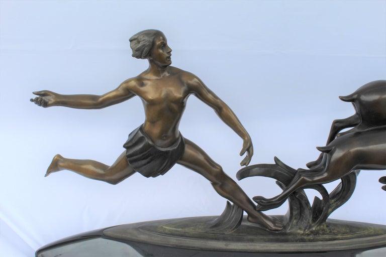 Art Deco, Bronze ,(Amazon Hunter) , Large,, Black Marble, After Ketley For Sale 2