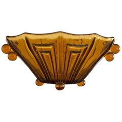 Art Deco Amber Color Thick Glass Decorative Vase Bowl or Centerpiece