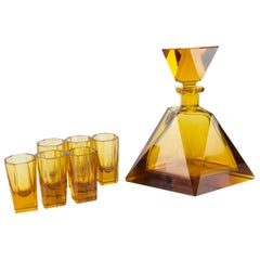 Art Deco Amber Colored Bohemian Glass Decanter and 6 Glasses Set, 1930s