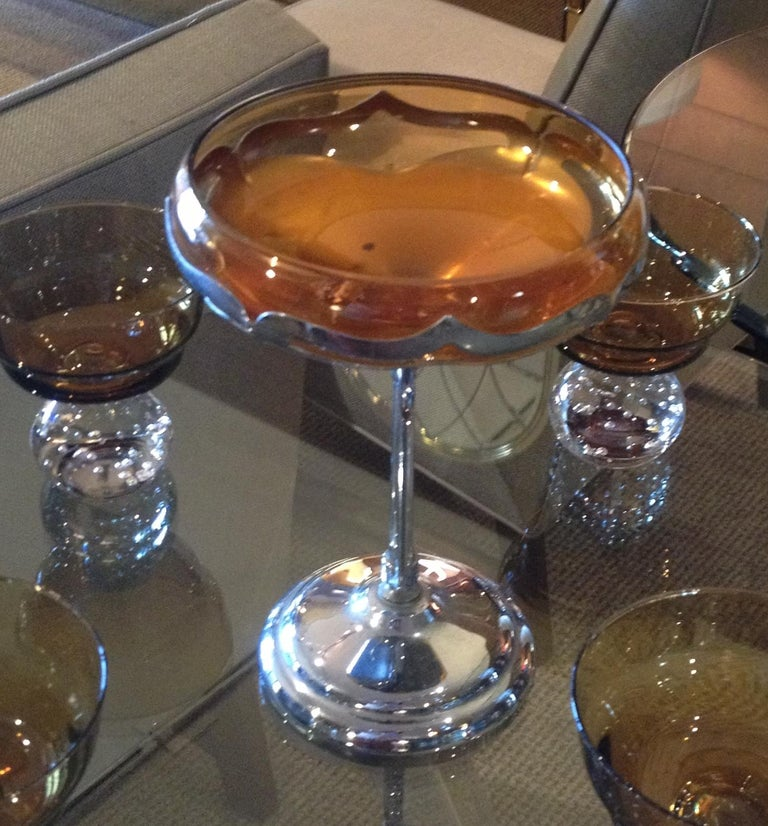 Mid-Century Modern Art Deco Amber Glass Bowl on a Chrome Stand made in NY For Sale