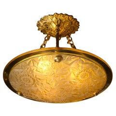 Art Deco Amber Glass Pendant w/ Stylized Cubist Motifs & Gilded Bronze Fittings