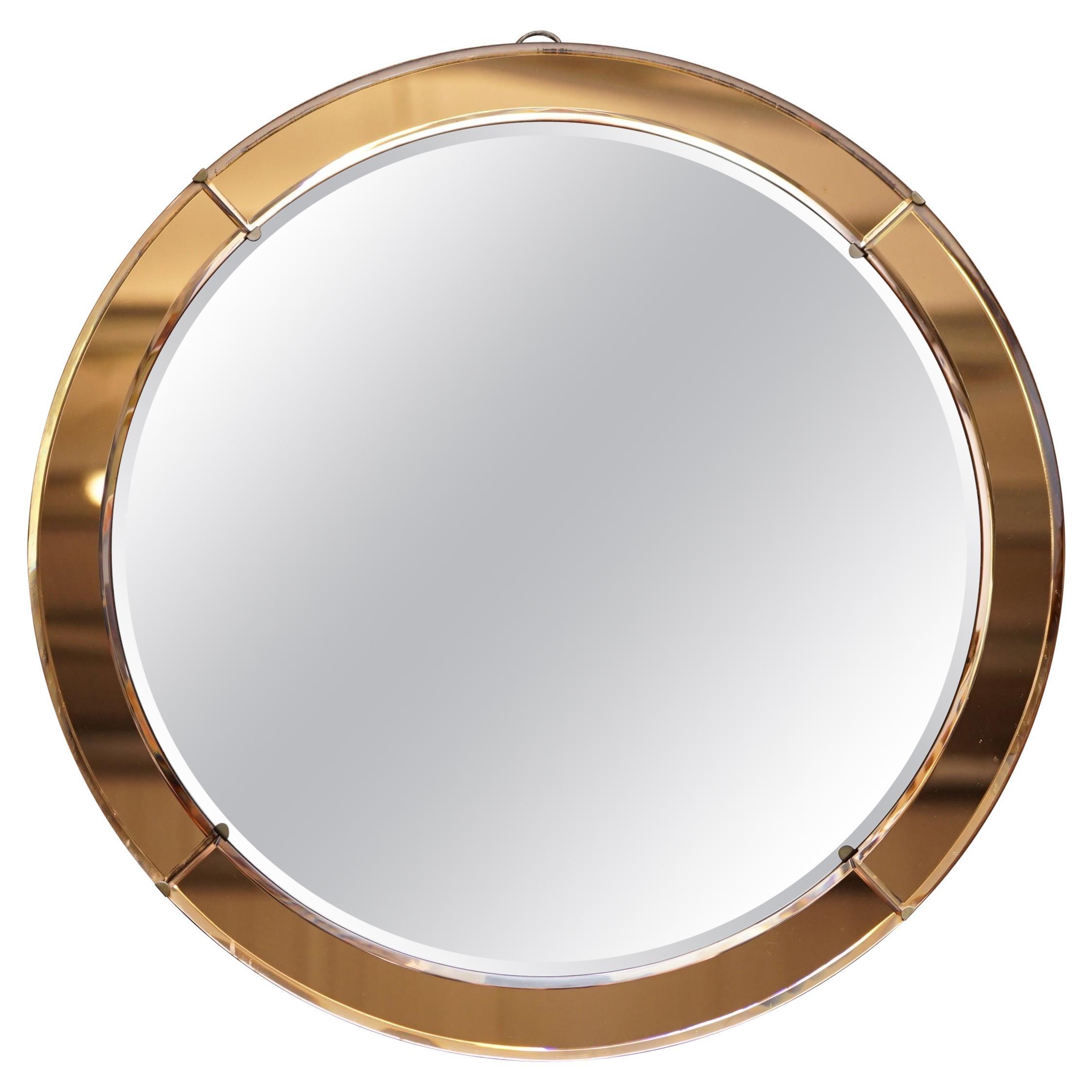 Art Deco Amber / Peach Glass Round Bevelled Wall Mirror Stunning Glass Patina