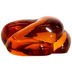 Art Deco Sensual Shaped Paperweight in Translucent Amber Organic Modern