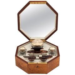 Art-Déco Kosmetikkoffer aus Amboinawurzelholz und Silber, 20. Jahrhundert