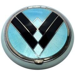 Art Deco American Evans 'Tapsift' Blue Enamel Guilloche Compact