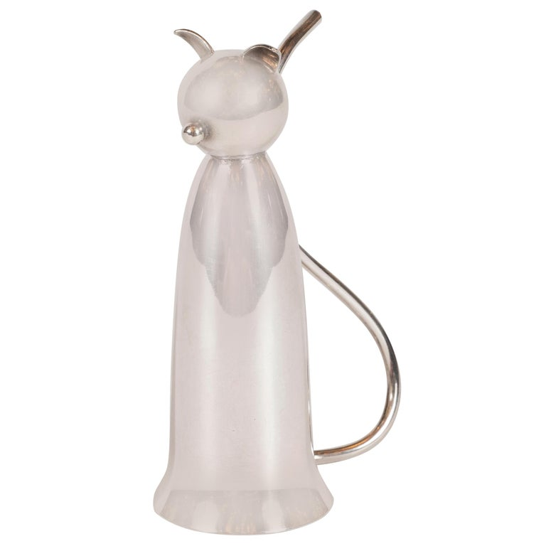 Art Deco American Sculptural Silver Plated Stylized Cat Jigger by Napier