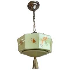 Art Deco American Style Soft Green Glass Pendant Lantern w. Hand Knotted Tassel