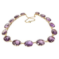 Art Deco Amethyst and 9 Carat Gold Riviere