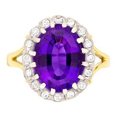 Art Deco Amethyst and Diamond Cluster Dress Ring, circa 1930s