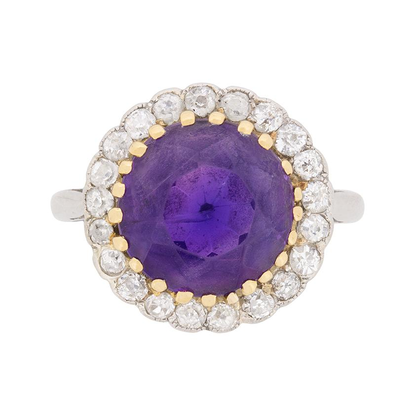 Art Deco Amethyst and Diamond Halo Ring, circa 1920s
