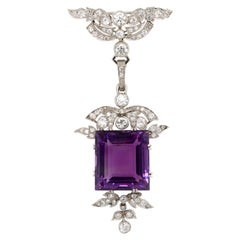 Art Deco Amethyst and Diamond Pendant/Brooch, 1930s