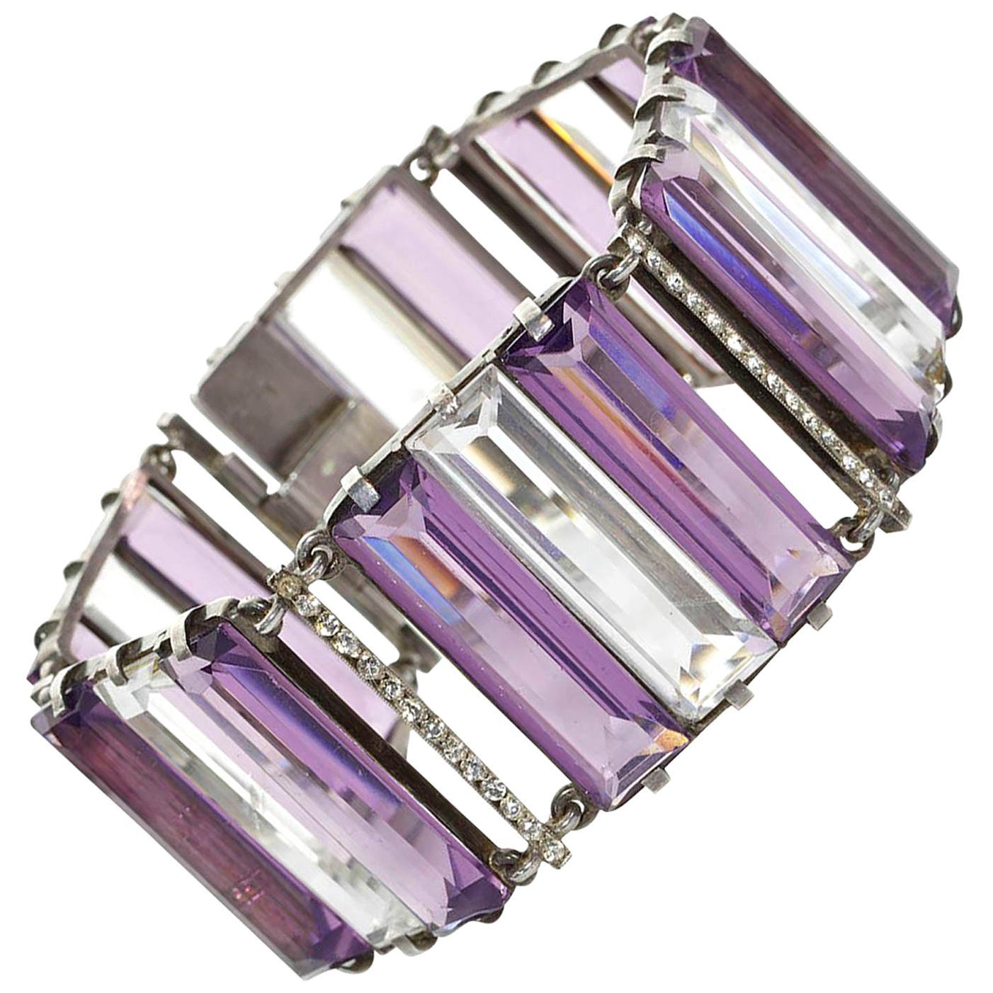 Art Deco Amethyst and Rock Crystal Bracelet