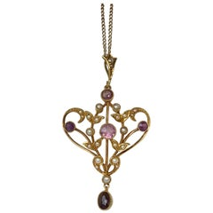 Art Deco Amethyst and Seed Pearl 9 Carat Gold Pendant