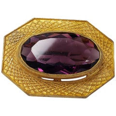 Art Deco Amethyst Colored Crystal and Gold Tone Geometrical Bezel Pin Brooch