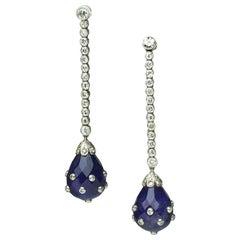 Art Deco Amethyst, Diamond and Platinum Earrings, circa 1930