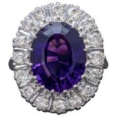 Art Deco Amethyst Diamond Ring 18 Carat Gold, circa 1930