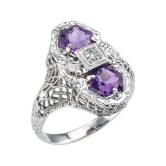 Art Deco Amethyst Diamond White Gold Filigree Ring