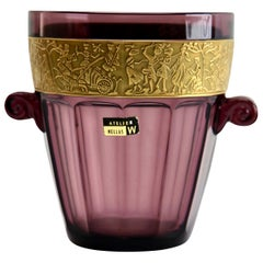 Art Deco Amethyst Ice Bucket by Walther 'Germany' with Classical Frieze