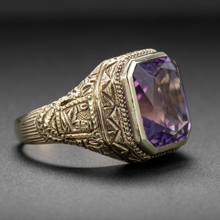 Mixed Cut Art Deco Amethyst Men's Ring Egyptian Revival For Sale