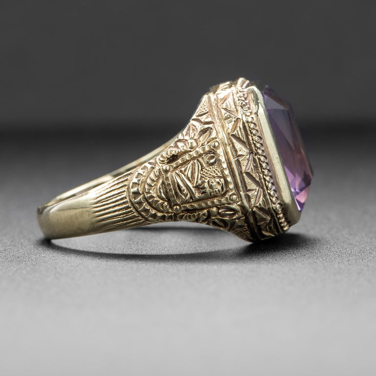 Art Deco Amethyst Men's Ring Egyptian Revival In Excellent Condition For Sale In Southbury, CT