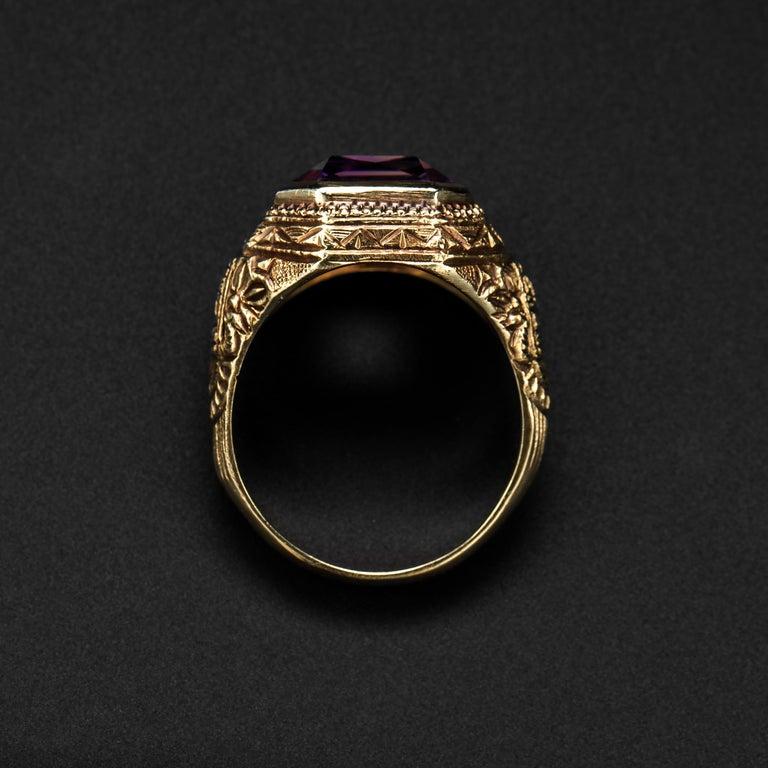Women's or Men's Art Deco Amethyst Men's Ring Egyptian Revival For Sale