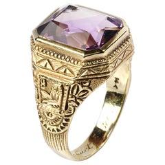 Art Deco Amethyst Men's Ring Egyptian Revival