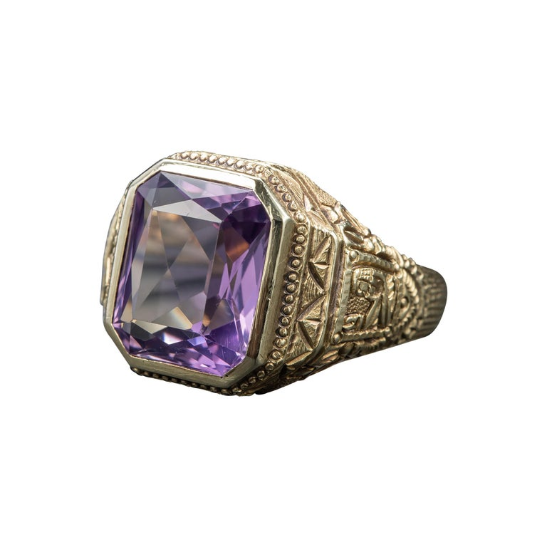 Art Deco Amethyst Men's Ring Egyptian Revival For Sale