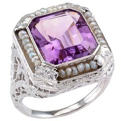 Art Deco Amethyst Seed Pearl White Gold Filigree Ring