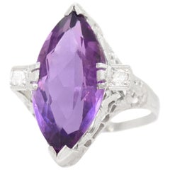 Art Deco Amethyst White Gold Ring