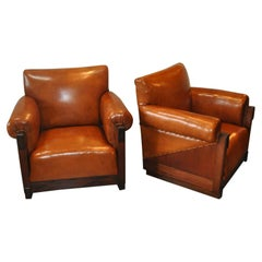 Art Deco, Amsterdam School Armchairs in Sheep Leather, 1920-1930s