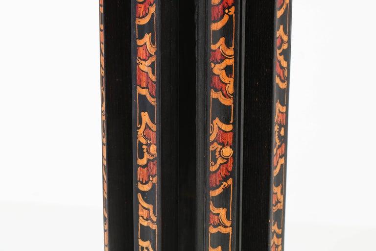 Dutch Art Deco Amsterdam School Batik Decoration Wooden Floor Lamp by Louis Bogtman For Sale
