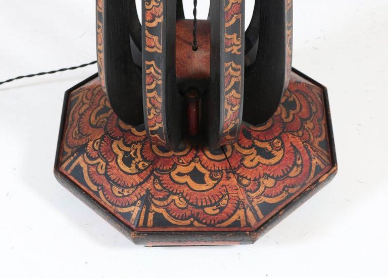 Early 20th Century Art Deco Amsterdam School Batik Decoration Wooden Floor Lamp by Louis Bogtman For Sale