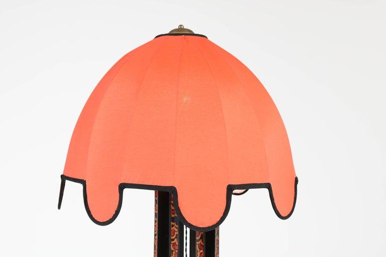 Silk Art Deco Amsterdam School Batik Decoration Wooden Floor Lamp by Louis Bogtman For Sale