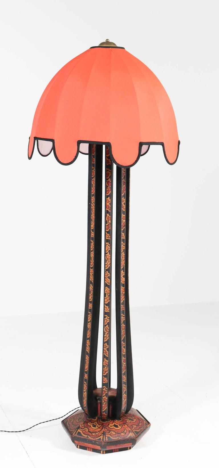 Art Deco Amsterdam School Batik Decoration Wooden Floor Lamp by Louis Bogtman For Sale 1