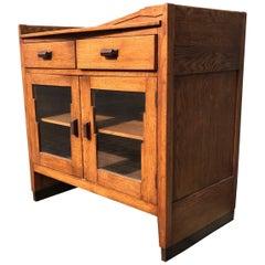 Art Deco Amsterdam School Drinks Cabinet Small Dresser Oak with Macassar Handles