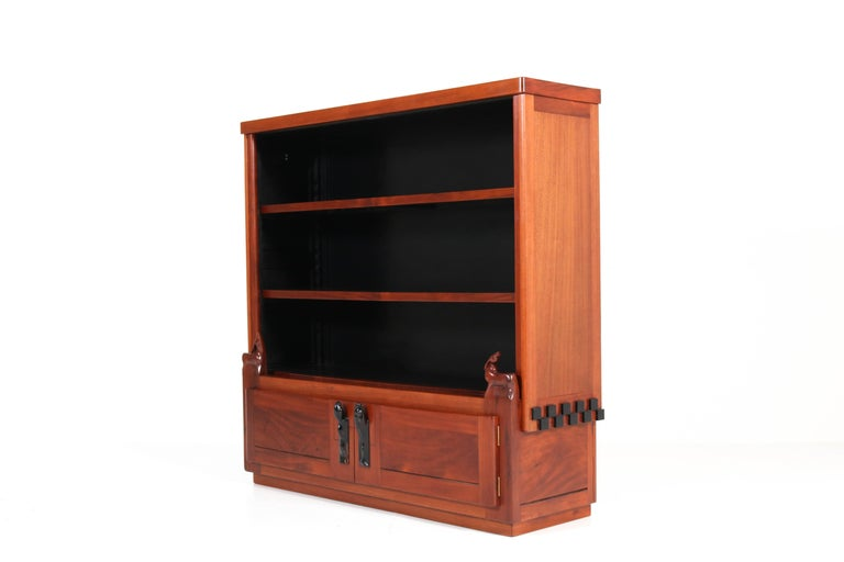 Magnificent and extremely rare Art Deco Amsterdam School bookcase.
